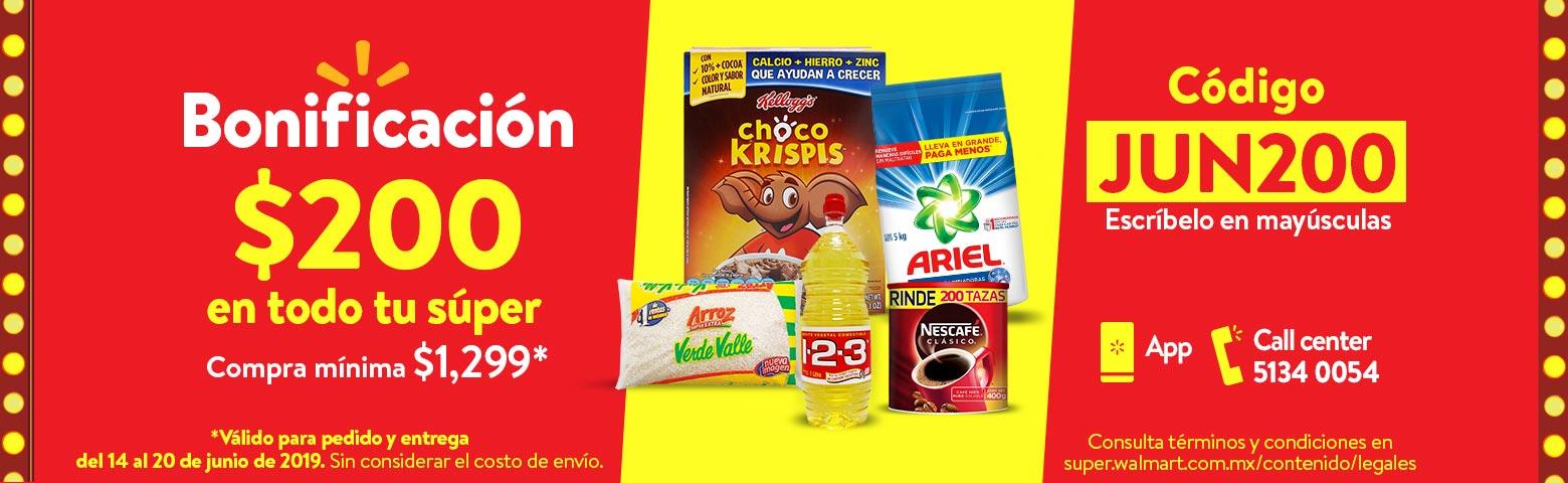 Walmart Súper: 200 de descuento en compras a partir de 1299 Envio gratis agregando productos marinela