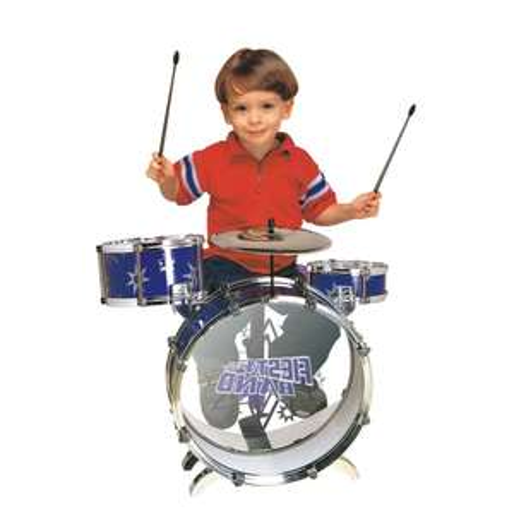 elektra: Bateria Mytoy Fiesta Band con bombo, dos tambores, platillo, panel, dos baquetas y banco -Azul