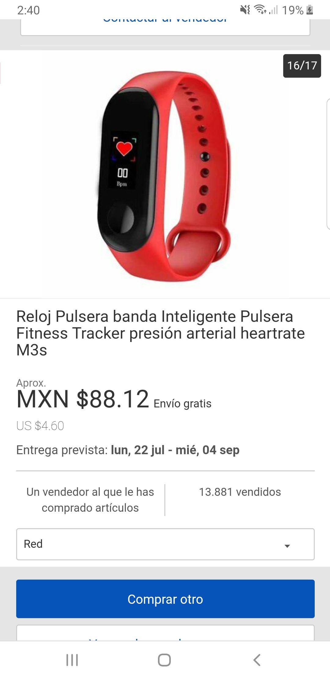 ebay: Reloj Pulsera banda Inteligente Pulsera Fitness Tracker presión arterial heartrate M3s