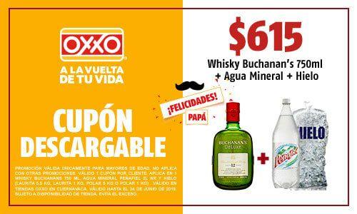 Oxxo: Buchanan's+hielo+agua mineral $615