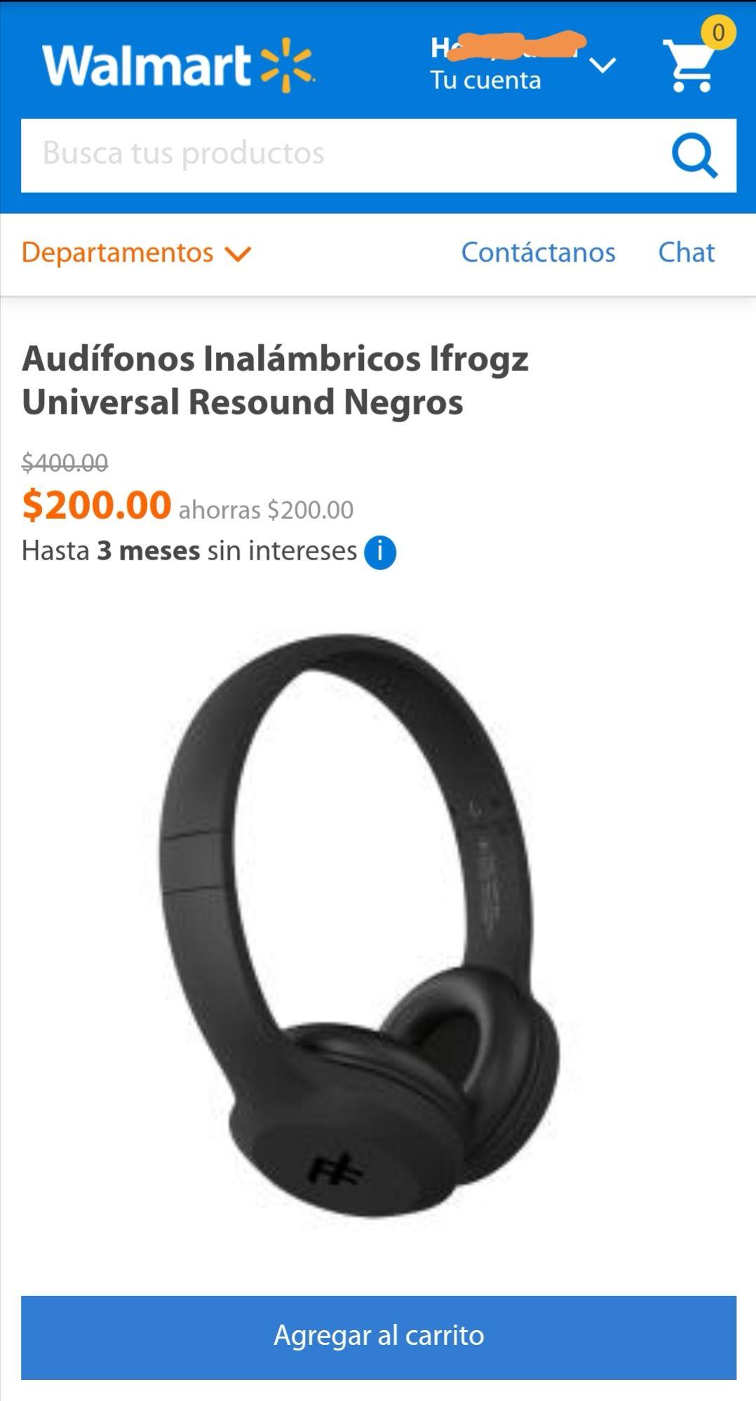 Walmart: Audífonos Inalámbricos Ifrogz Universal Resound Negros
