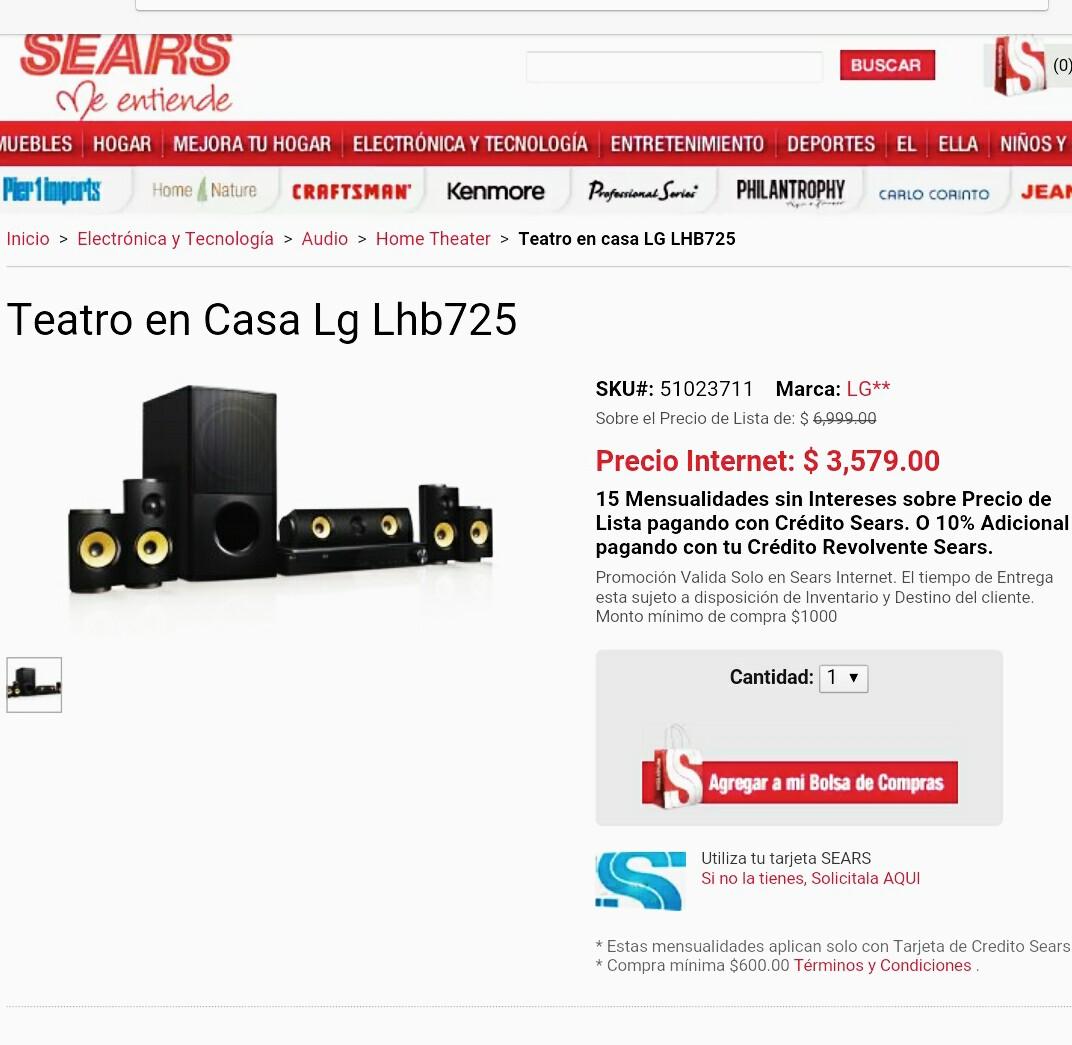 Sears: Teatro en casa Smart LG 5.1, 1200 watts, Bluray, 3d, Bluetooth