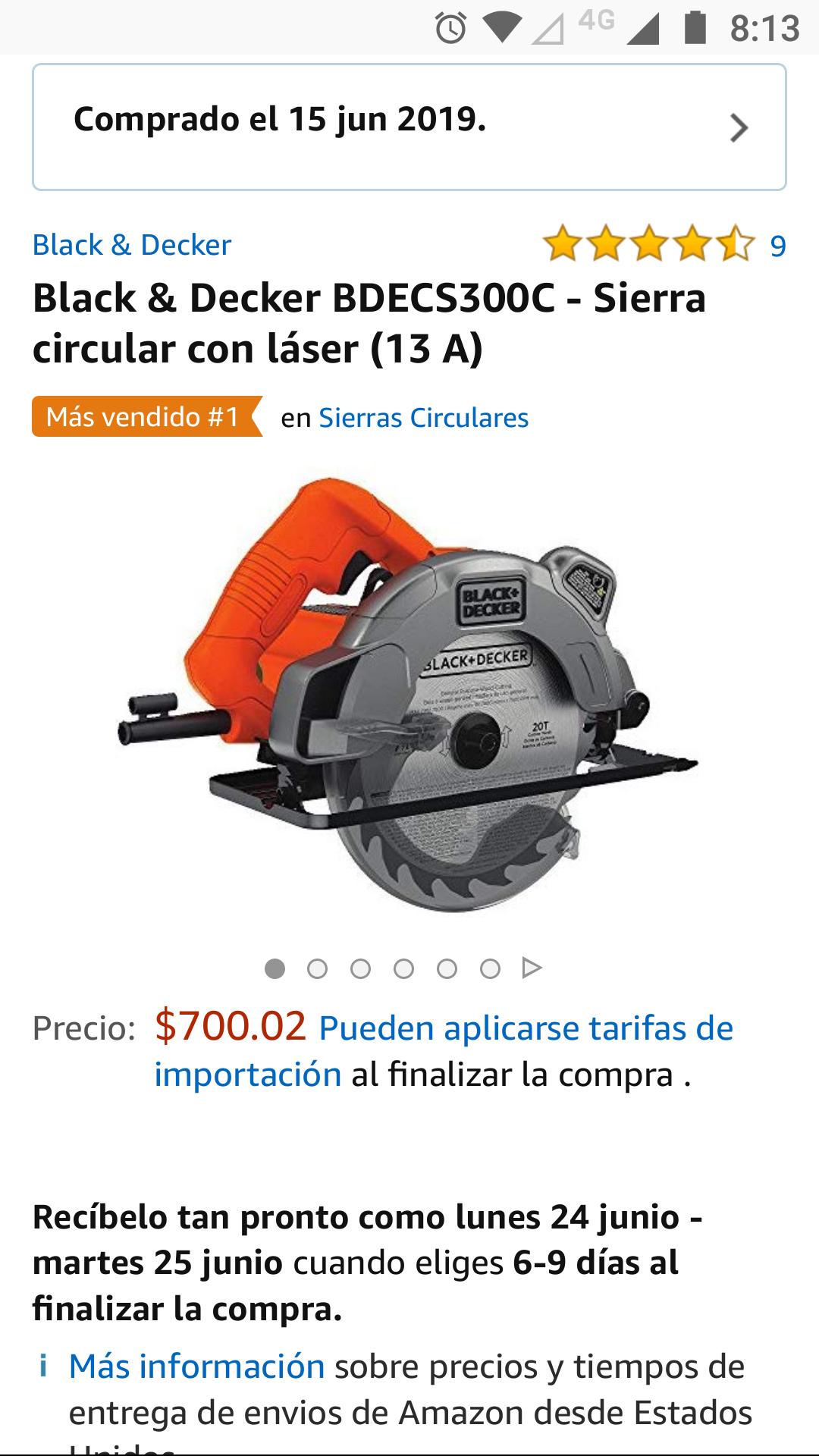 "Amazon Sierra circular Black and Decker 7 1/4"" con láser"