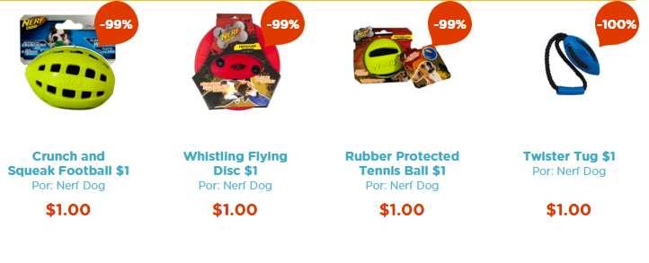 Pet n'Go: juguetes para perro Nerf $1 (nuevos clientes)