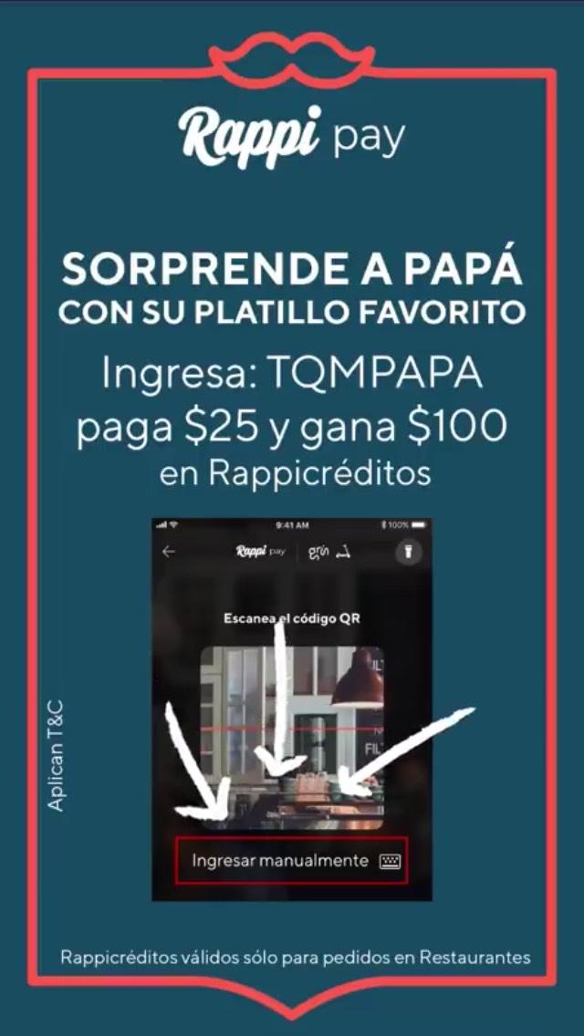 Rappi: Deposita $25 en Rappi Pay y recibe $100 en rappicréditos