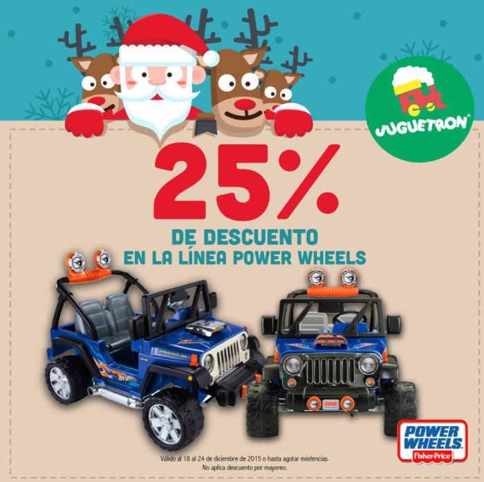 Juguetron: 25% de descuento en montables power wheels y más