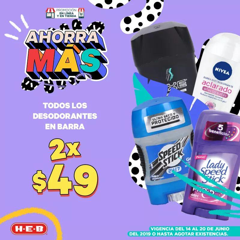 HEB: antitranspirantes y desodorantes en barra a 2 x $49