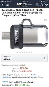 Amazon: SanDisk Ultra  USB 128 GB Dual PC/Android SDDD3-128G-G46