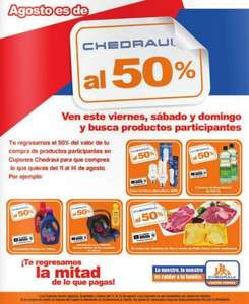 Chedraui: artículos con bonificación de 50% del 8 al 10 de agosto (actualizado)