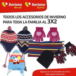 Soriana: Accesorios de invierno 3x2