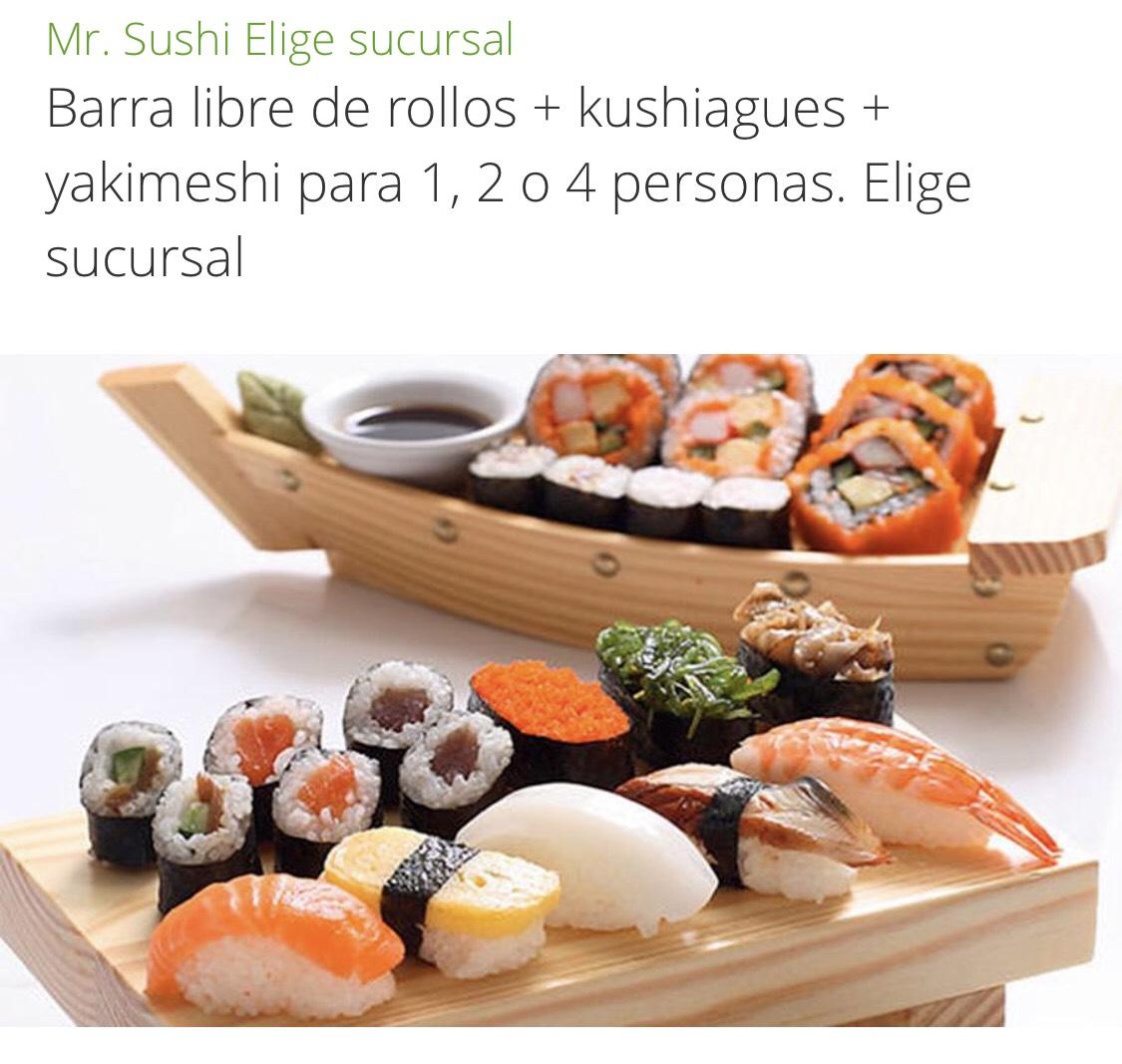 Groupon y Mr. Sushi CDMX:  Barra libre de rollos + kushiagues + yakimeshi para 1, 2 o 4 personas.
