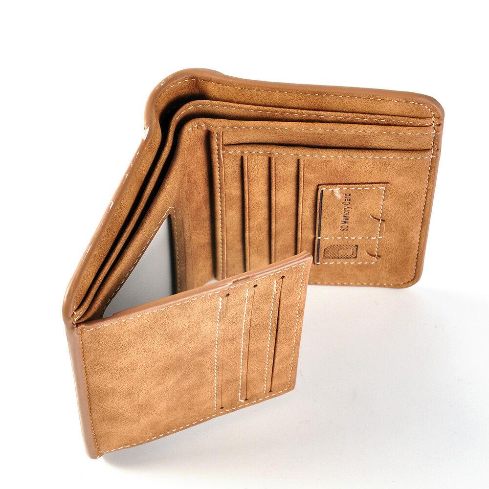eBay: Billetera de cuero con soportes de tarjeta y doble pliegue diseño delgado 3 Colores