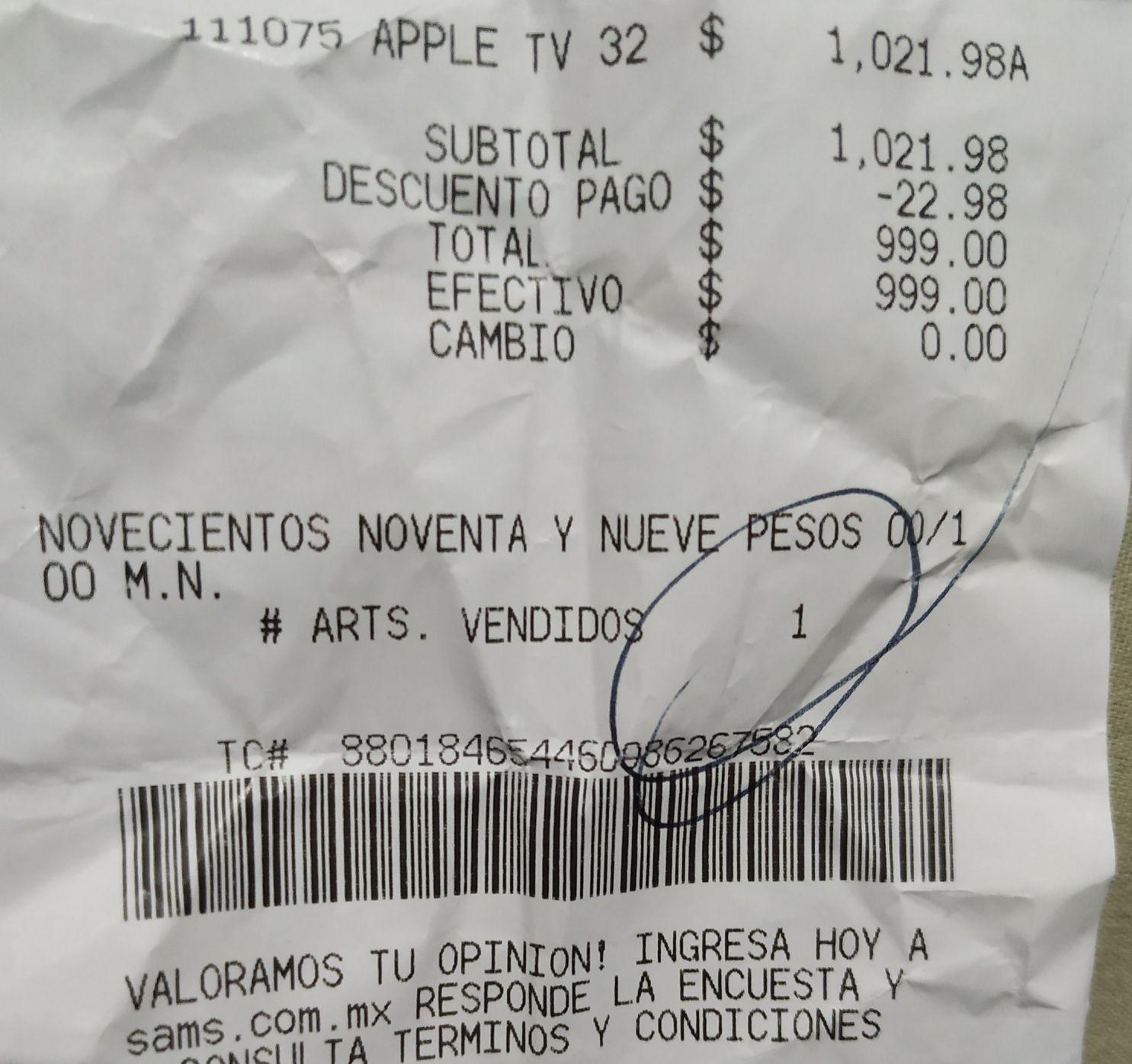 Sam's Club Irapuato: Apple TV 4ta generación 32 GB