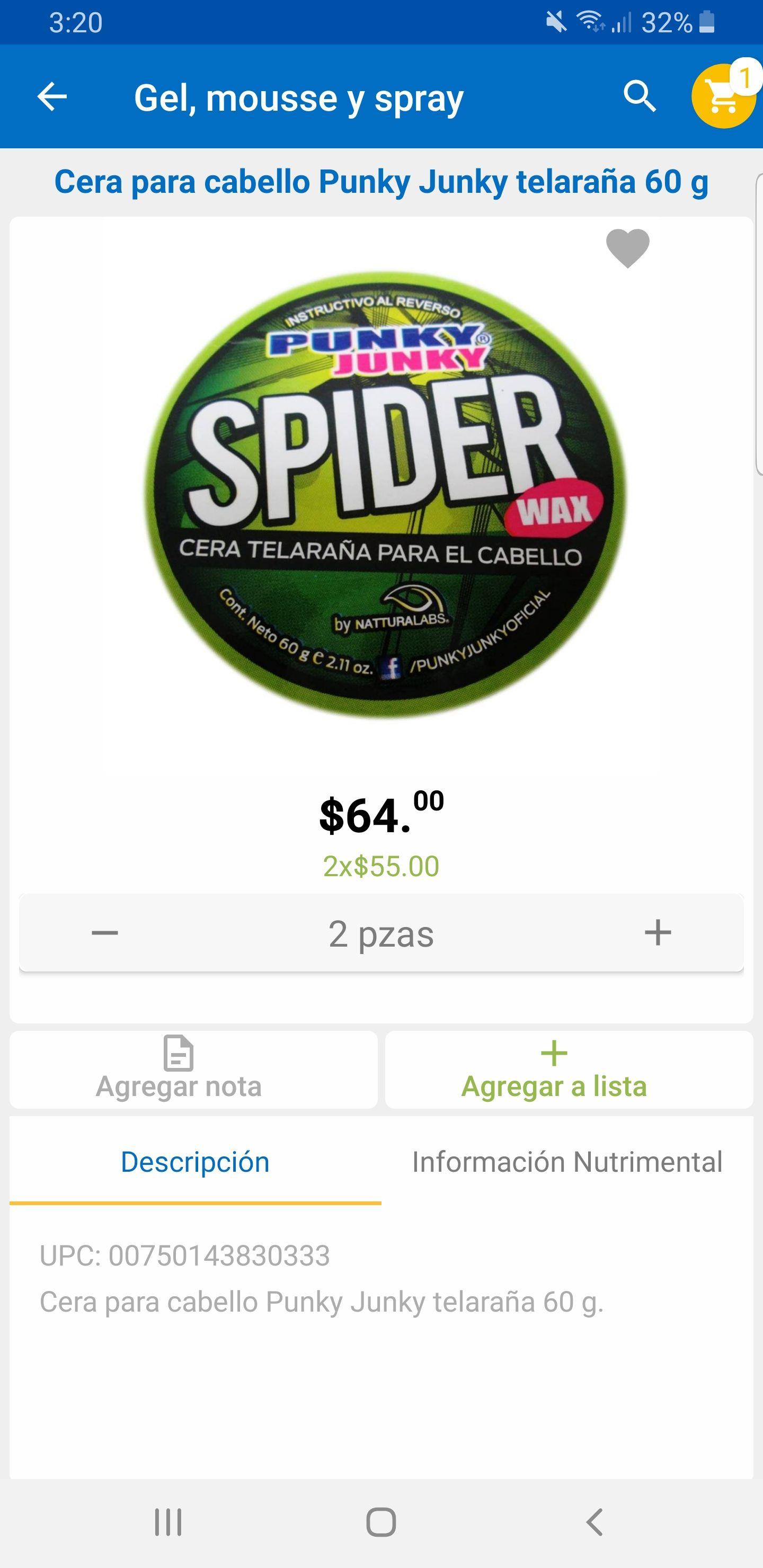 Walmart: Cera telaraña Punky Junky (2x$55 pesos)