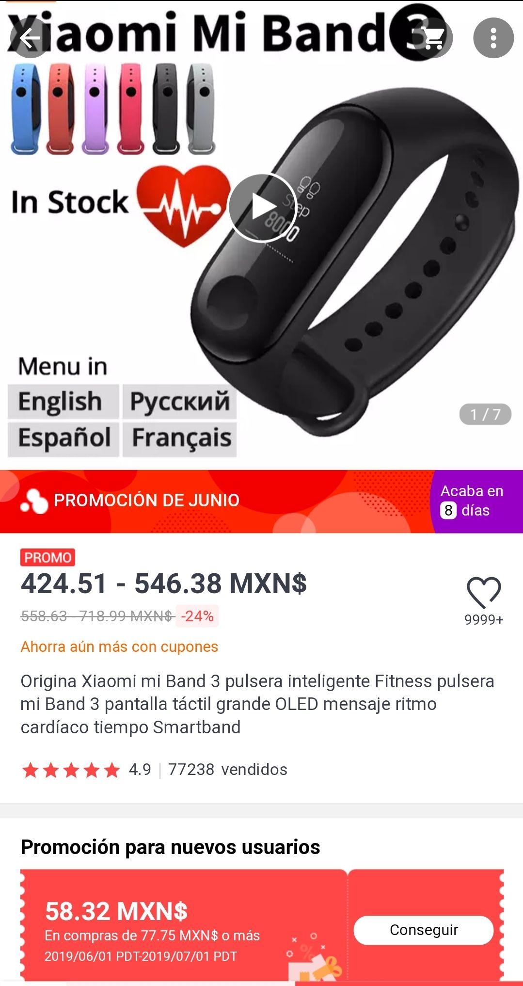 Aliexpress: Xiaomi Mi band 3 ($366 con cupón de nuevo usuario)