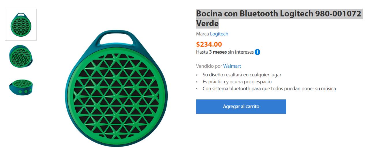 Walmart: Bocina con Bluetooth Logitech 980-001072 Verde
