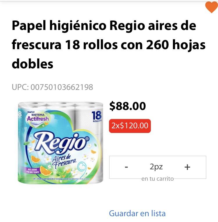 Walmart: Papel higiénico Regio aires de frescura 18 rollos con 260 hojas dobles (2x$120)