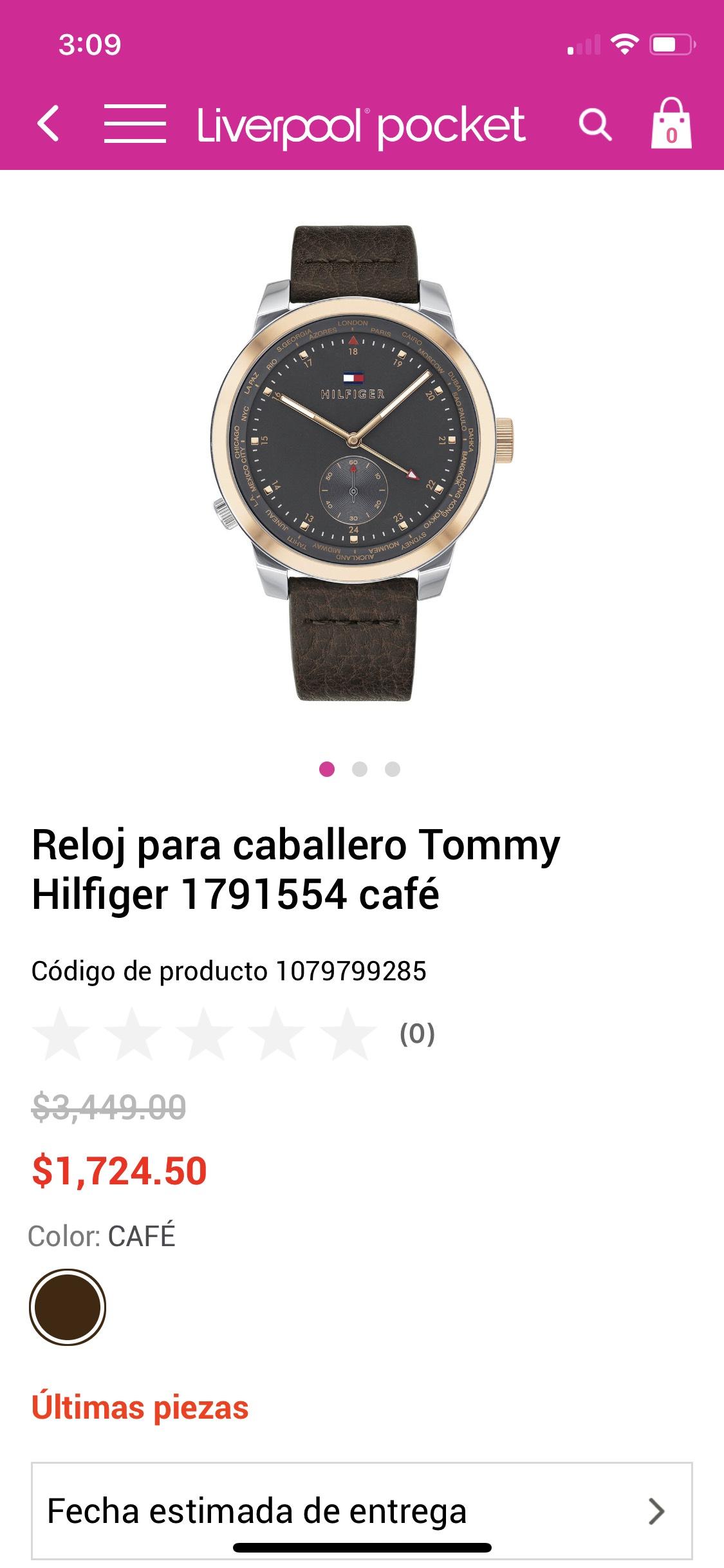 Liverpool: Reloj Tommy Hilfiger (pagando con Tarjeta Liverpool)