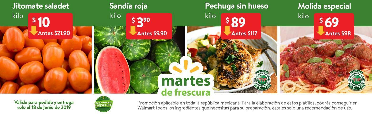 Walmart: Martes de Frescura 18 Junio: Sandía Roja $3.90 kg... Jitomate Saladet $10.00 kg.