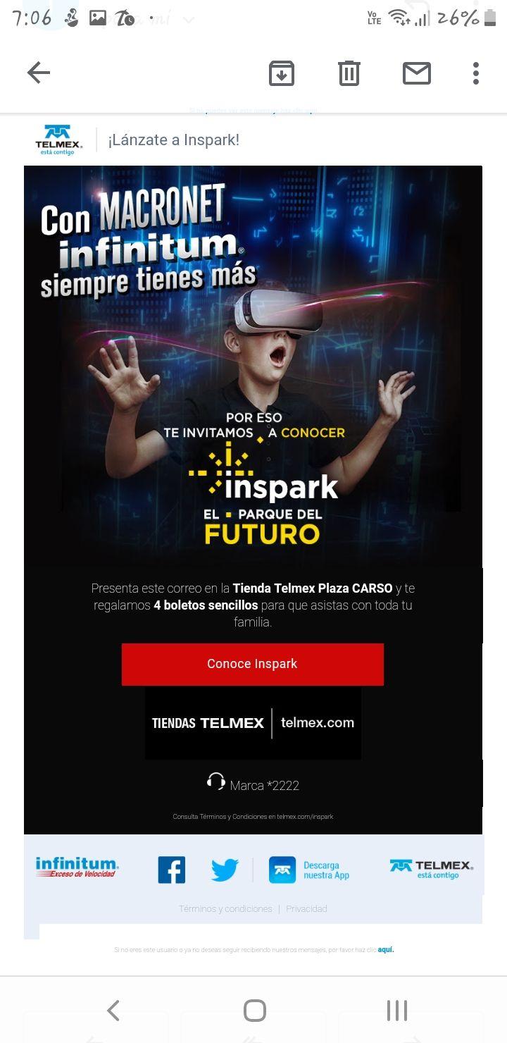 "Infinitum: 4 Boletos para el Parque ""Inspark"" Gratis!"