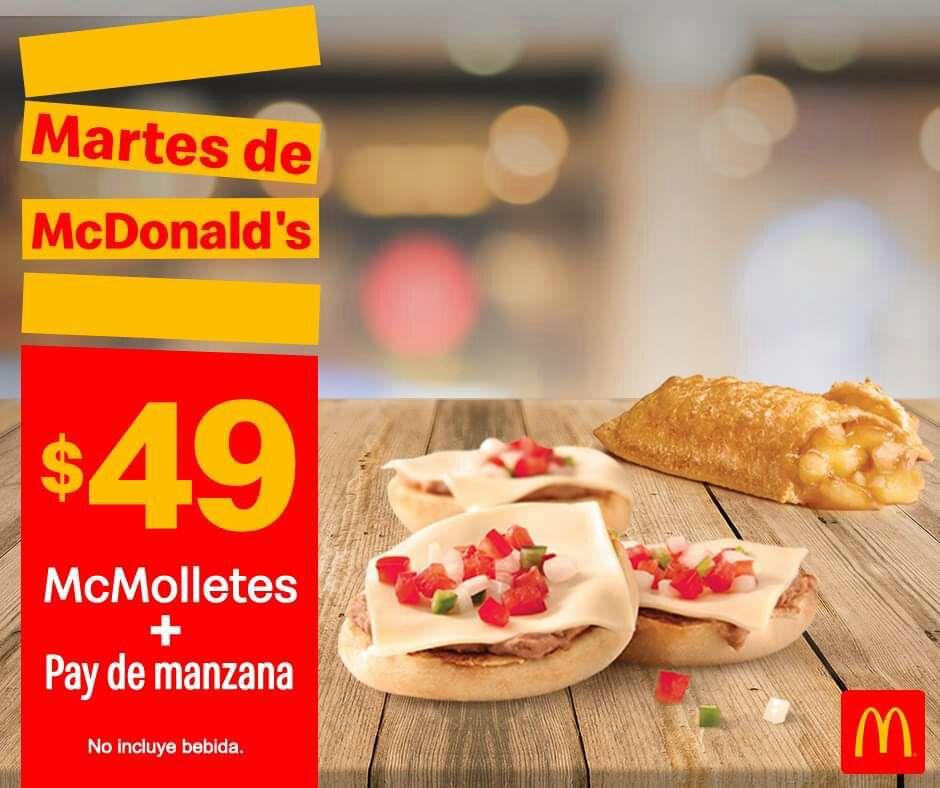 McDonald's: Martes de McDonald's 18 Junio Desayuno: McMolletes + Pay de Manzana $49
