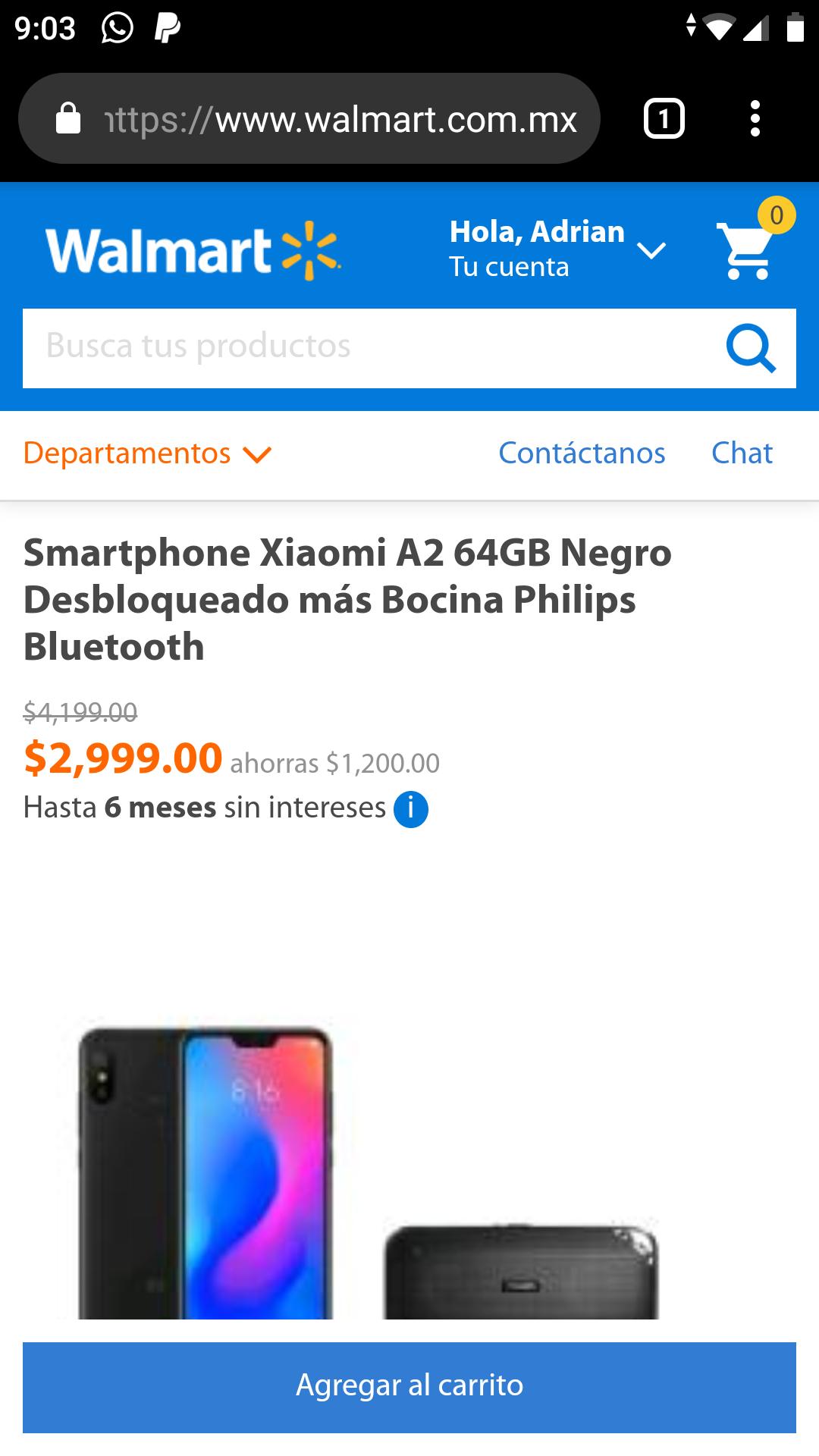 Walmart: Xiaomi Mi A2 64gb más bocina philips