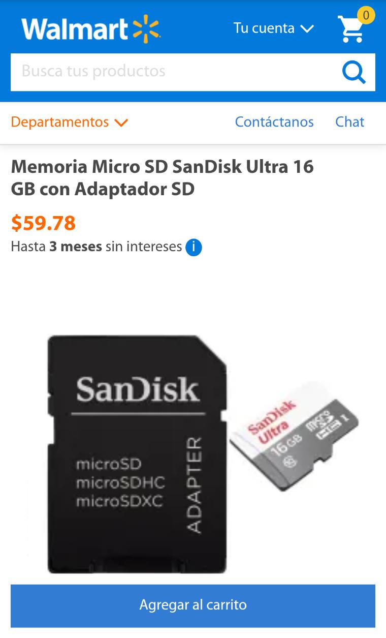 Walmart: (Precio más envío) Memoria Micro SD SanDisk Ultra 16 GB con Adaptador SD