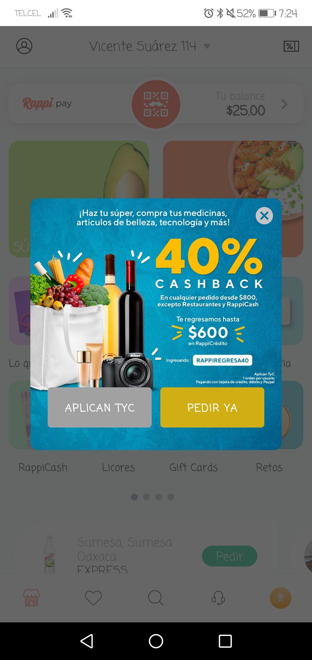 Rappi: Cashback del 40%  (Usuarios seleccionados)