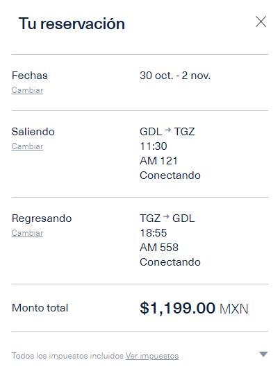 Aeromexico: Vuelo Redondo Guadalajara - Tuxtla