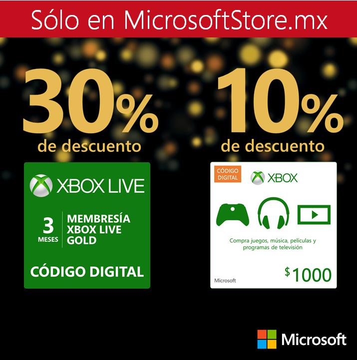 Microsoft Store: Xbox Live Gold de 3 meses $209.30 y Tarjeta prepago de MXN$1000 a MXN$900