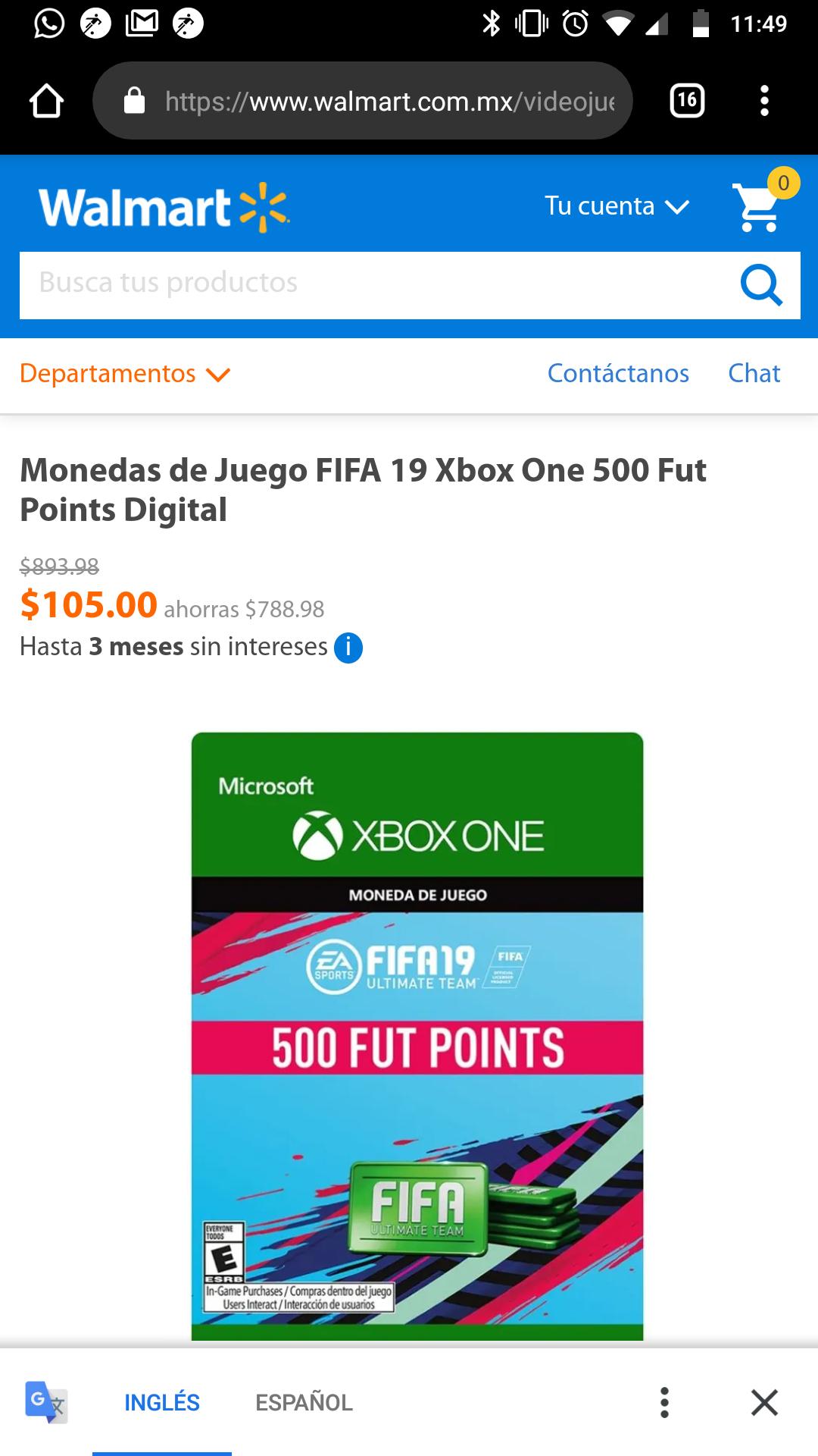 Walmart: 500 FIFA POINTS