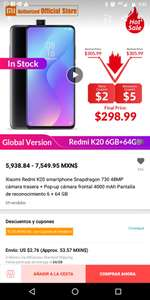 AliExpress: Redmi K20 6+64 Global