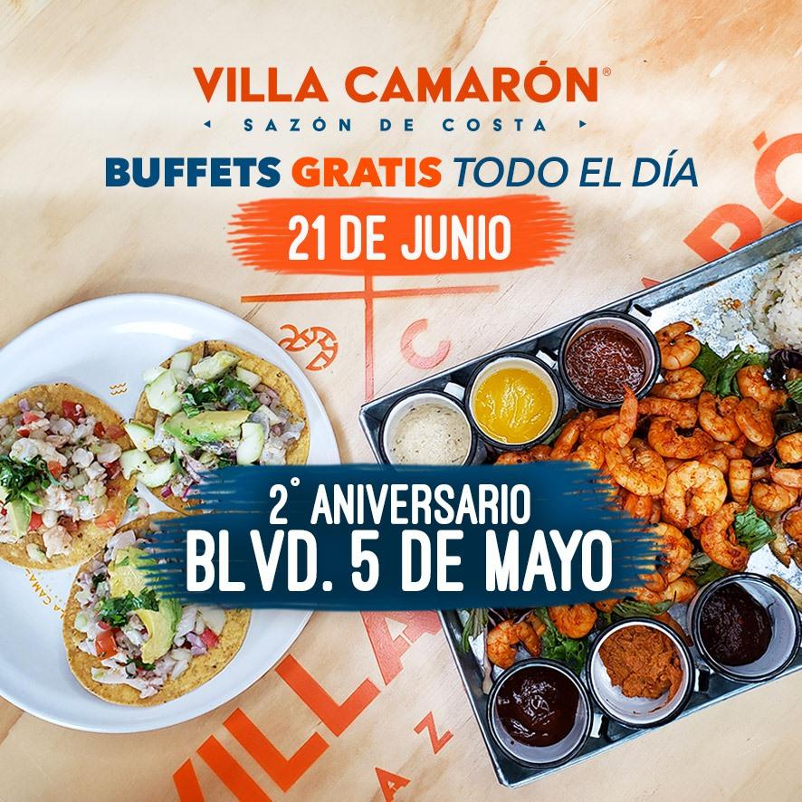Villa Camarón Puebla: GRATIS buffets a la carta por aniversario