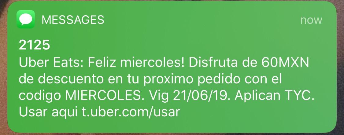 UberEats   -$60 pesos de descuento