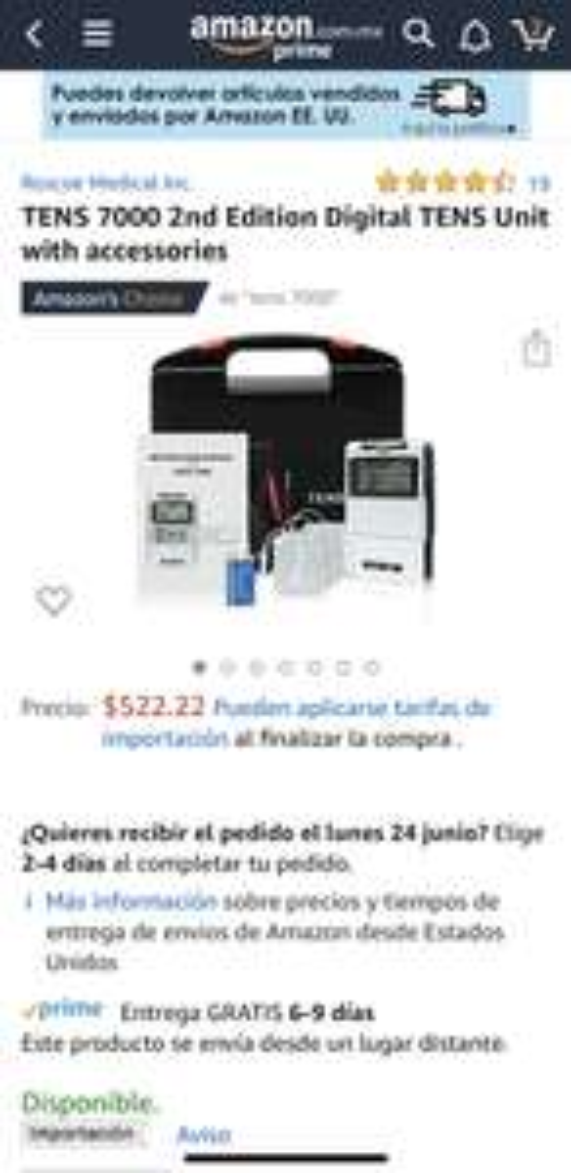 Amazon: Tens 7000 2nd Edition Electro estimulador para Fisioterapia