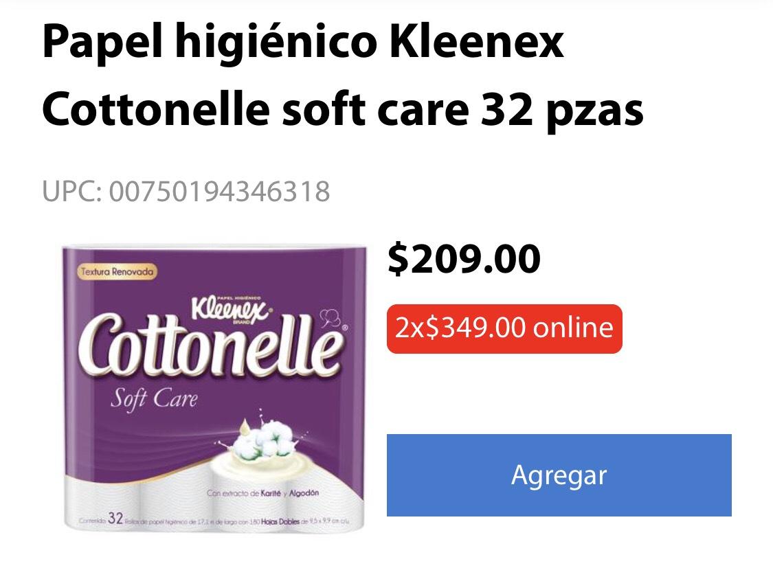 Walmart: 2 Paquetes de Papel higiénico Kleenex Cottonelle soft care 32 pzas.