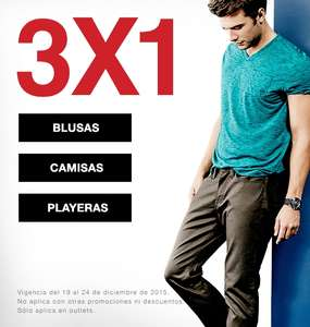 Outlet Guess: 3x1 en blusas, camisas y playeras.