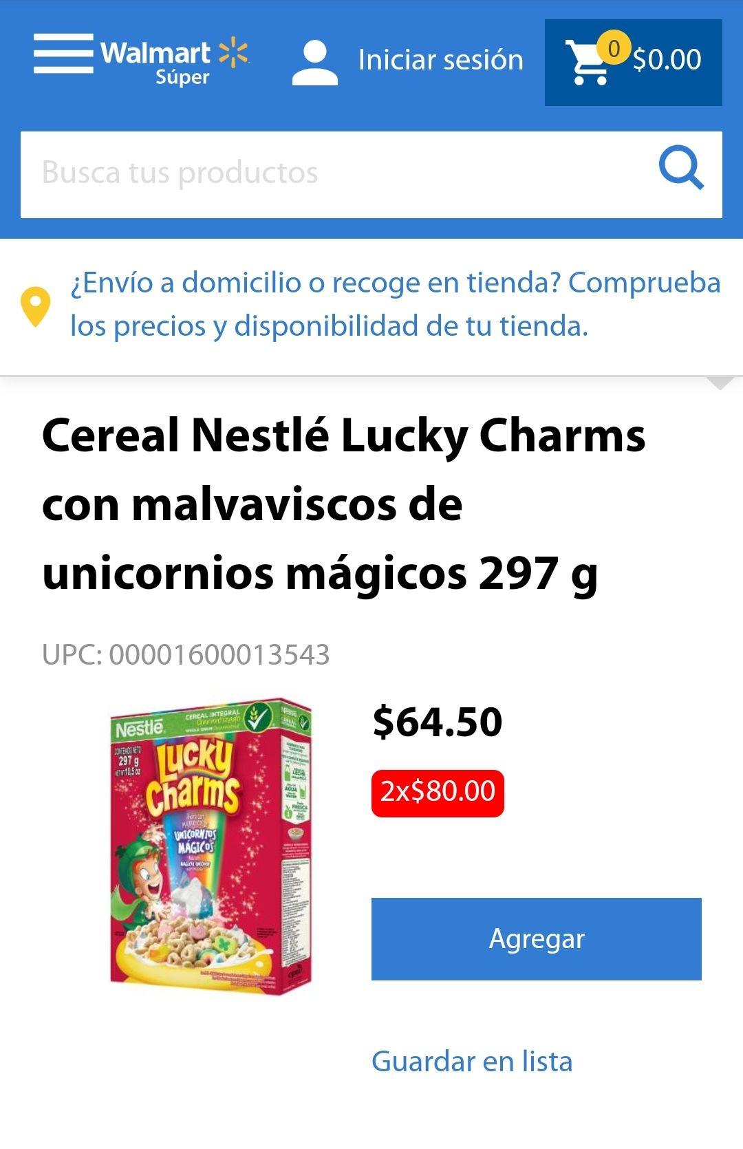 Walmart: Cereal Lucky Charms (2 por $80)