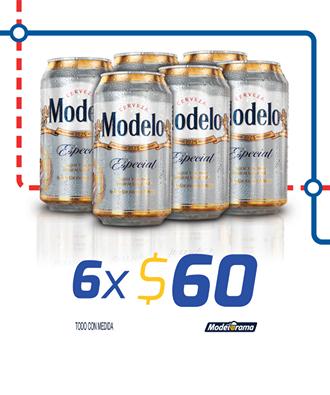 Modelorama: 6 cervezas en lata modelo especial por $60