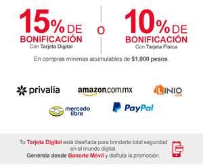 Banorte: 15% de Bonificación en Compras Mayores a $1,000 en Amazon, PayPal, Linio, Mercado Libre y Privalia y Más..