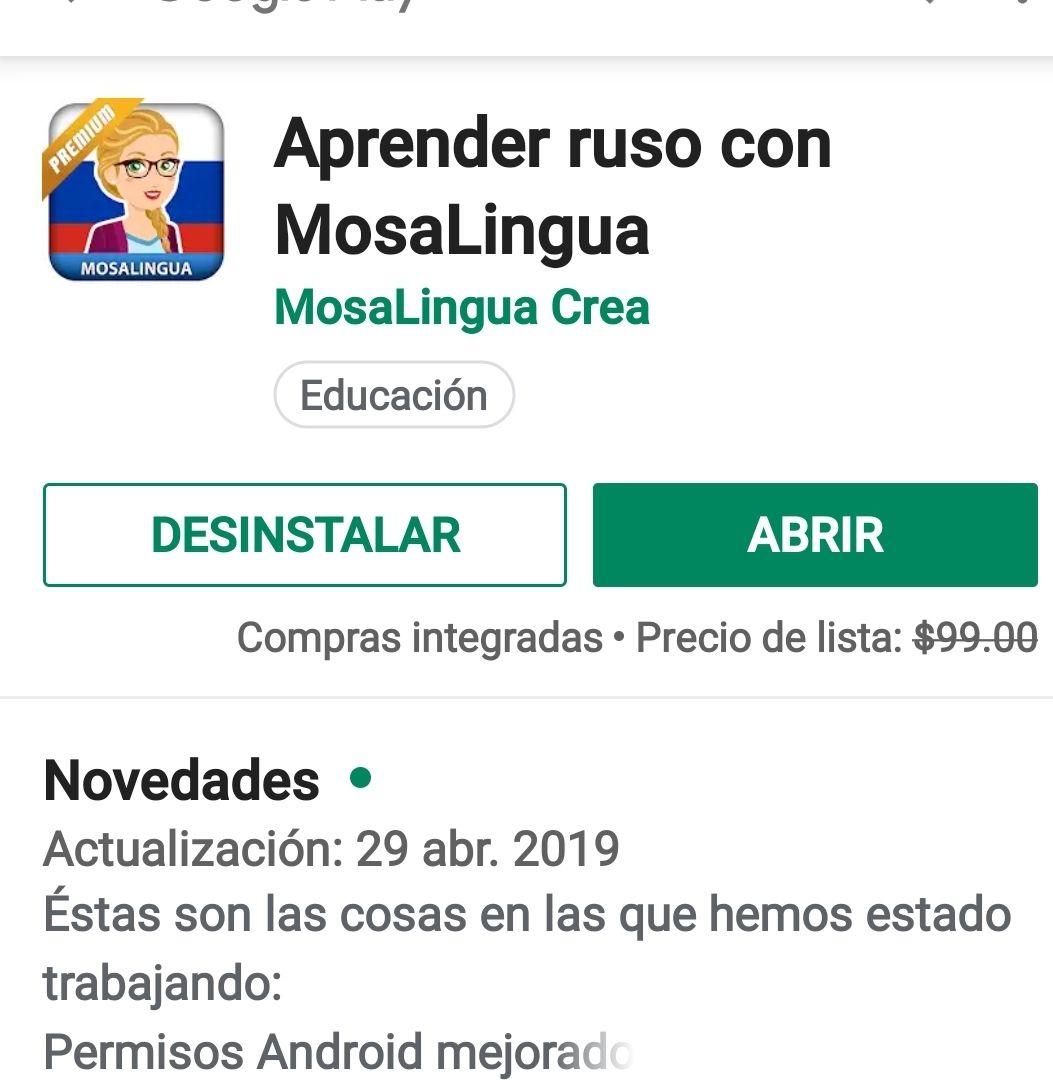 Google Play Aprende ruso con mosalingua