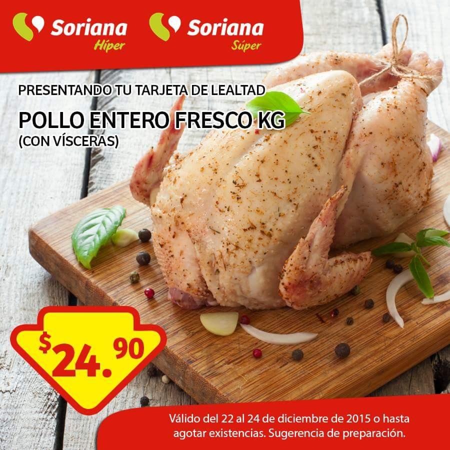 Soriana: Pollo entero fresco $24.90 kg presentando tarjeta de lealtad