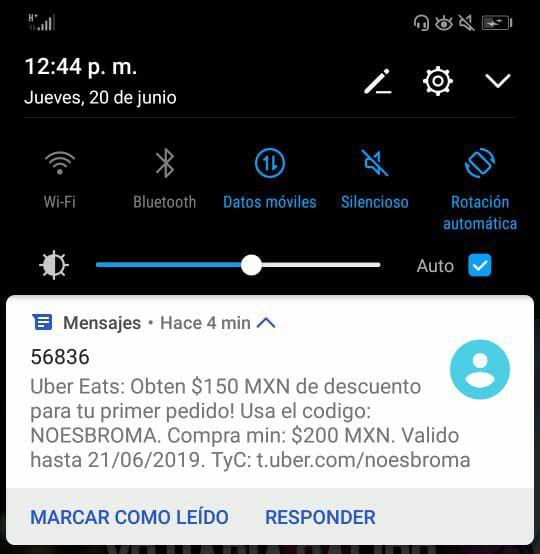 Uber Eats; Descuenta  $150 Compra Mínima $200 *Usuarios Nuevos