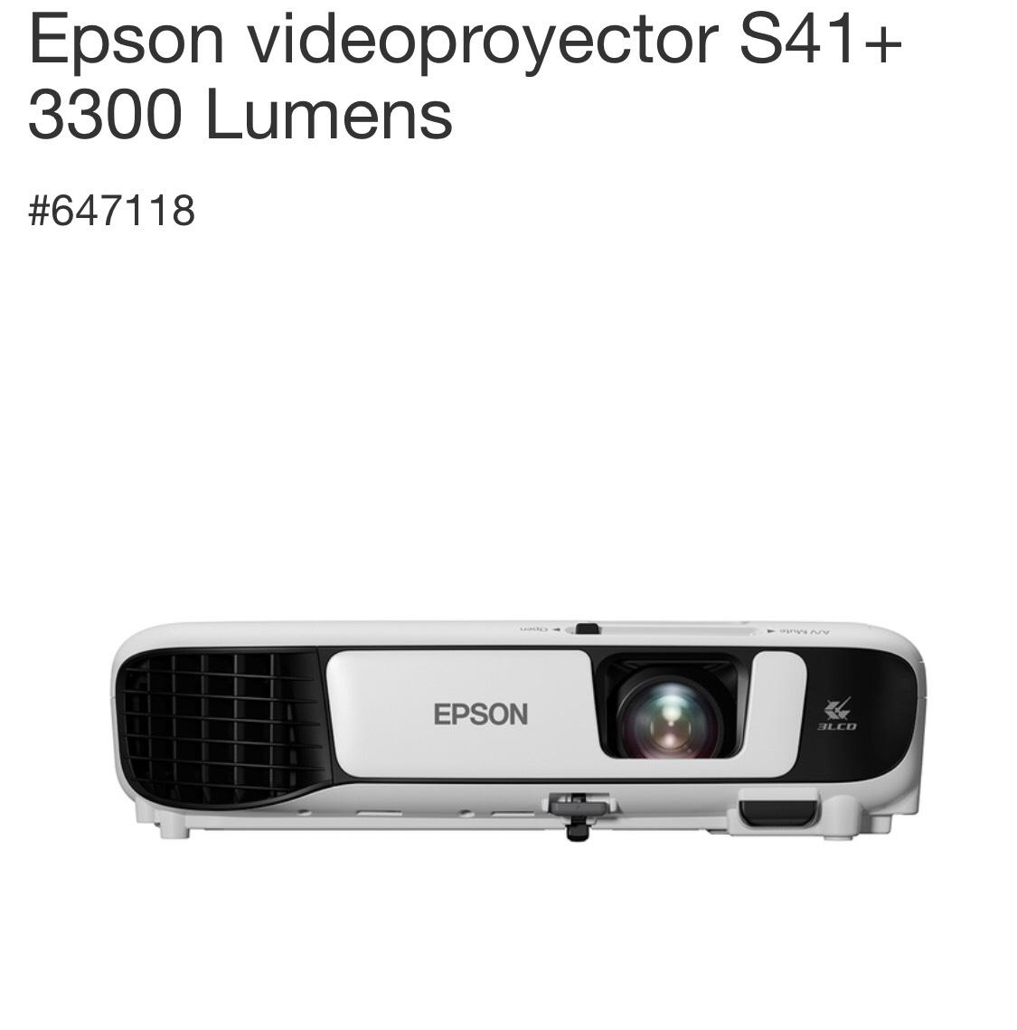 Costco: Epson videoproyector S41+ 3300 Lumens con Descuento de $2,000 pesos y envío gratis!!
