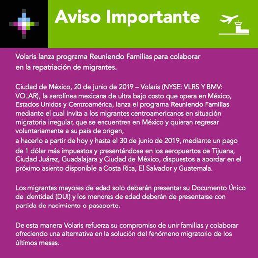 Ofrece Volaris a indocumentados boleto de repatriación a 1 dólar