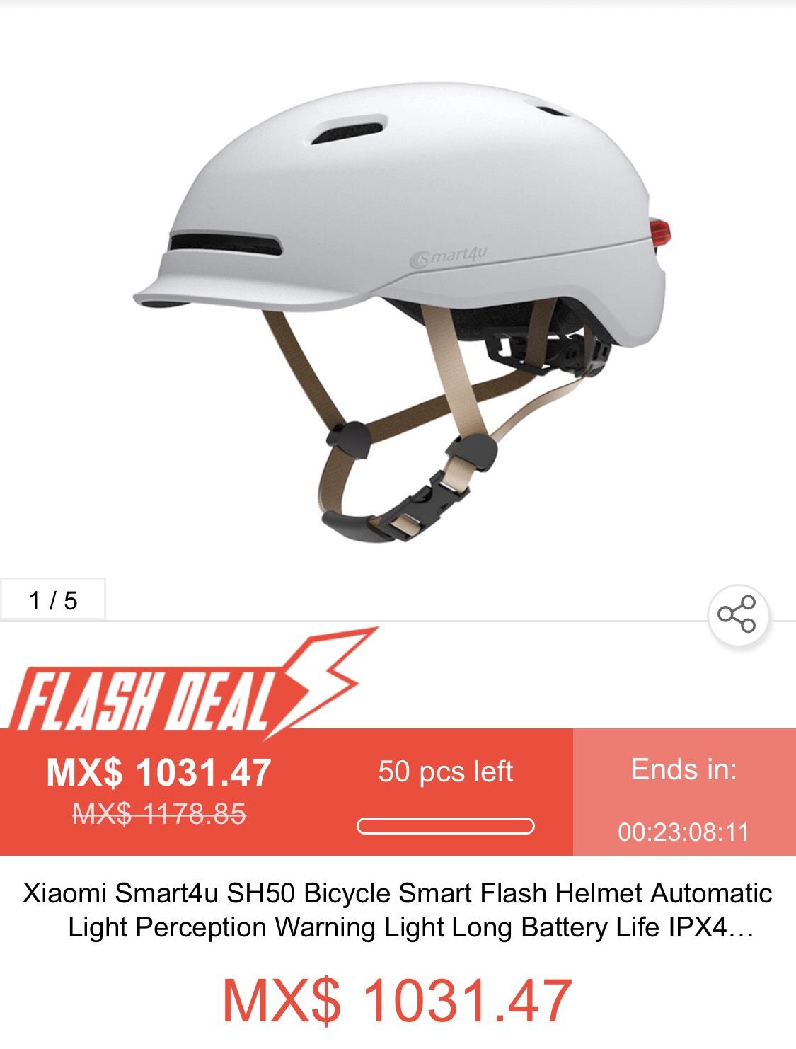 Geekbuying: Xiaomi Smart4u SH50. Casco Smart Flash, con Luz de advertencia para Bicicleta, scooters, etc.