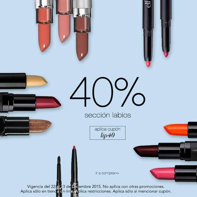 Elf online: 40% de descuento en seccion de labios con cupon