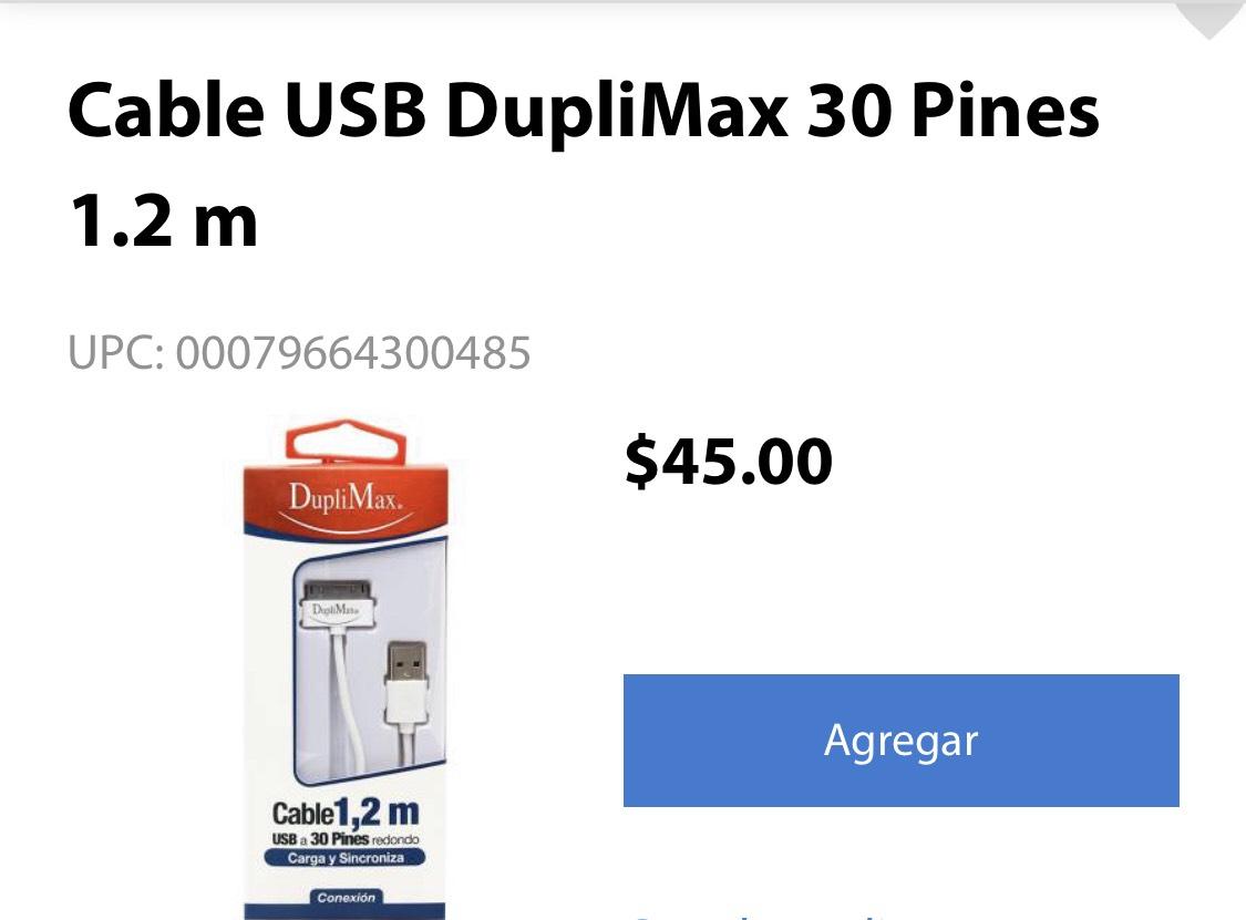 Walmart Súper: Cable USB DupliMax 30 Pines 1.2 m