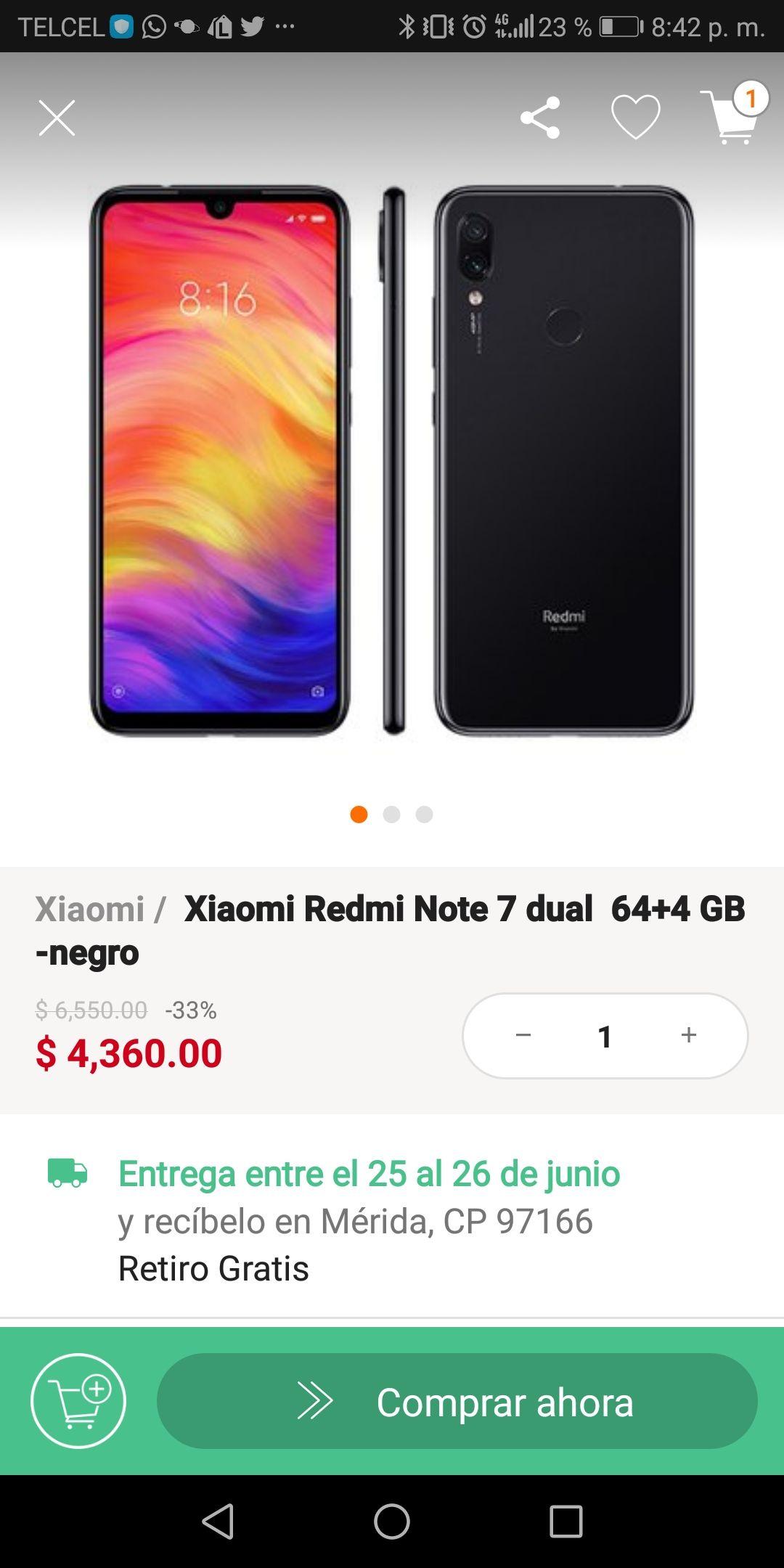 Linio App: Xiaomi Redmi Note 7 4GB/64GB (pagando con Paypal y Banorte)