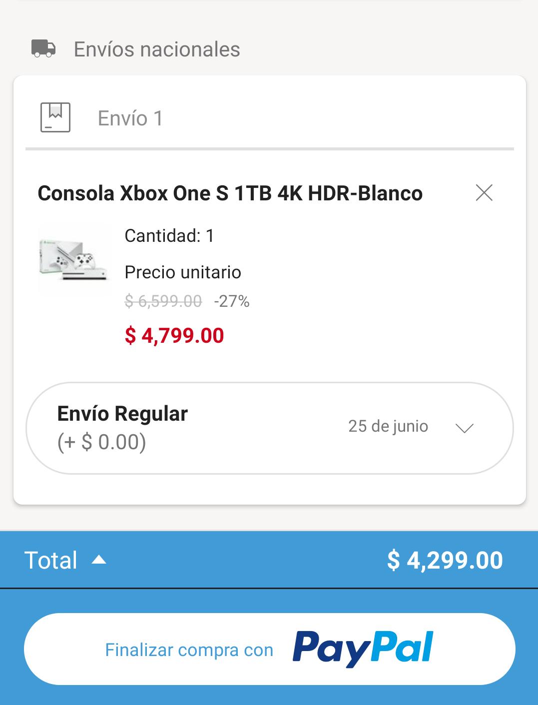 Linio App: Xbox One S 1TB NUEVO (Pagando con PayPal)